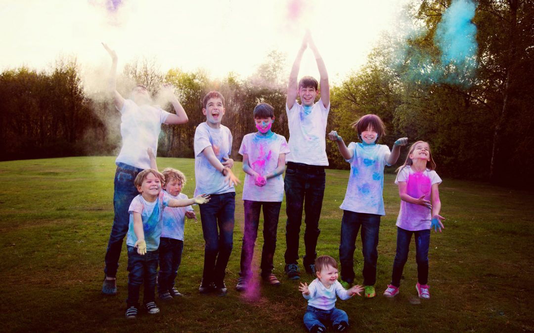 Grandchildren Holi Themed Photo Shoot in Mill Hill, North London